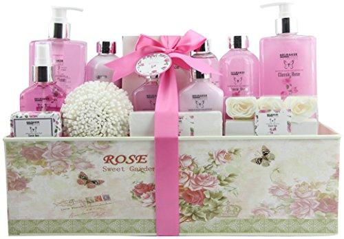 BRUBAKER Cosmetics Bade- und Dusch Set Rosen Duft - 15-teiliges Beauty Geschenkset in Vintage Geschenkbox