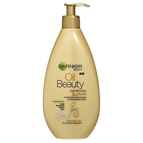 Garnier Oil Beauty Nährende Öl-Milch, für gepflegte, seidig schimmernde Haut, mit 4 Beauty-Ölen aus Argan, Macadamia, Mandel und Rose, 400 ml