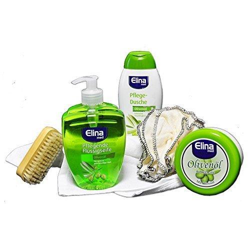 Handverpacktes Geschenk-Set für Frauen Olive Natur mit Oliven Duschbad sowie Creme plus Seife und Badeschwamm