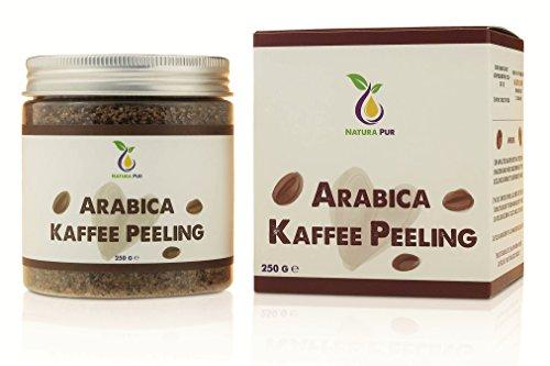 Natura Pur Arabica Kaffee Peeling 250g, vegan - natürliches Body-Scrub Körperpeeling - Anti-Aging Pflege gegen unreine Haut für Gesicht und Körper