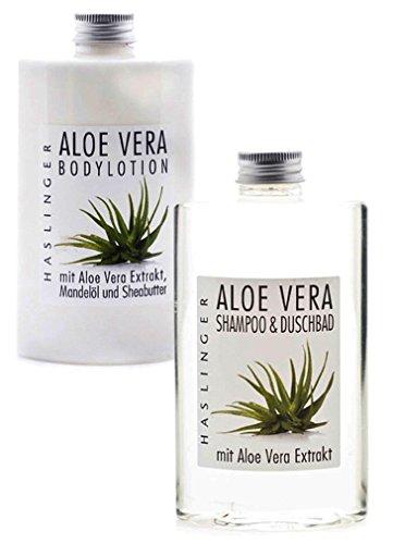 Pflegeset Aloe Vera mit Duschbad - Shampoo und Bodylotion mit Aloe Vera Extrakt, Geschenkset für die Dame (2 x 200ml)
