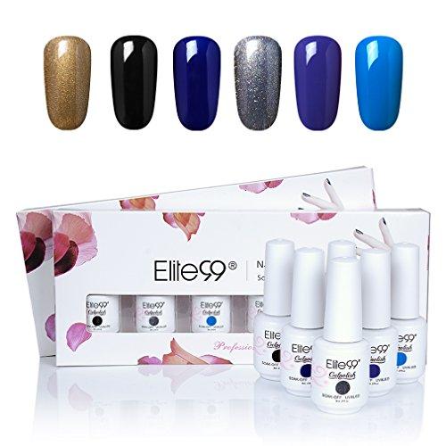 UV Nagellack set von Elite99 soak off nagelgel farben auflösbarer peel off nagellack uv nagellack starterset 6x 8ML